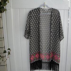 Black Rainin  Black-Pink Print Kimono XS/S